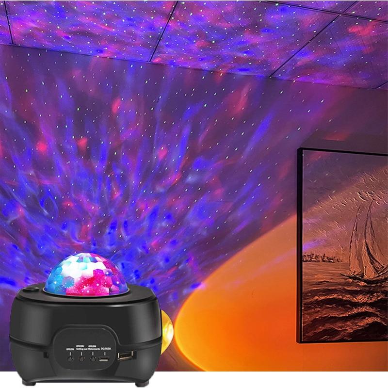 جديد غروب الشمس و السماء المرصعة بالنجوم غالاكسي العارض مصباح LED ستار ليلة ضوء مع الأزرق مشغل موسيقى للمنزل غرفة ديكور هدايا
