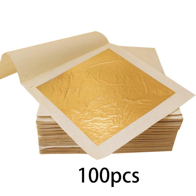 24K Gold Leaf Edible Gold Foil for Cake Decoration 100pcs 9.33x9.33cm Gilding Craft Paper Pure Gold Leaf Sheets