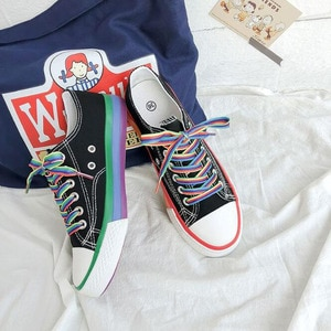 Rainbow White Shoes Woman Canvas Sneakers With Color Lace 2020 Spring New Female Casual Sneakers Platform Shoes White