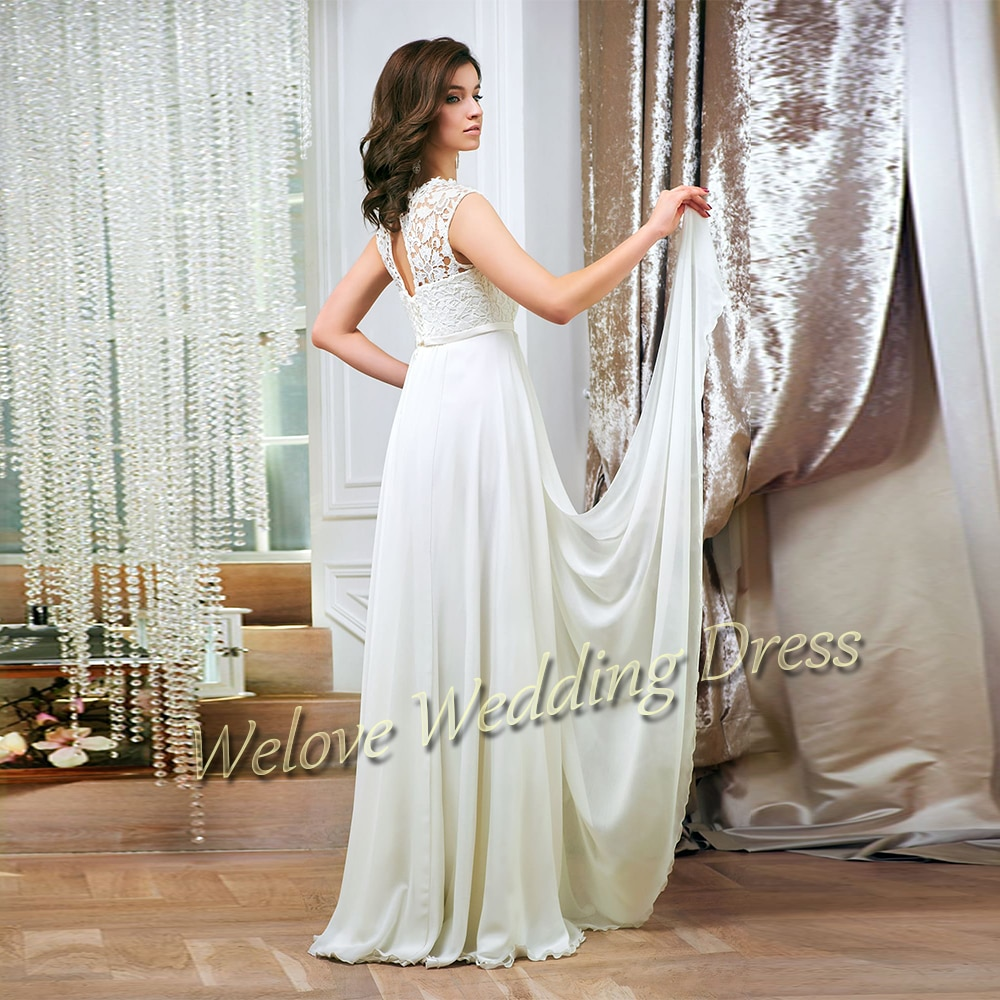 Chiffon Wedding Dress 2021 A Line O Neck Sleeveless Floor Length Bridal Gown For Bride Simple Lace Robe De Mariage Plus Size