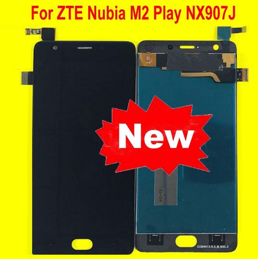 100% اختبار أفضل العمل LCD شاشة لوحة اللمس محول الأرقام الجمعية ل ZTE النوبة M2 اللعب NX907 NX907J الهاتف استشعار