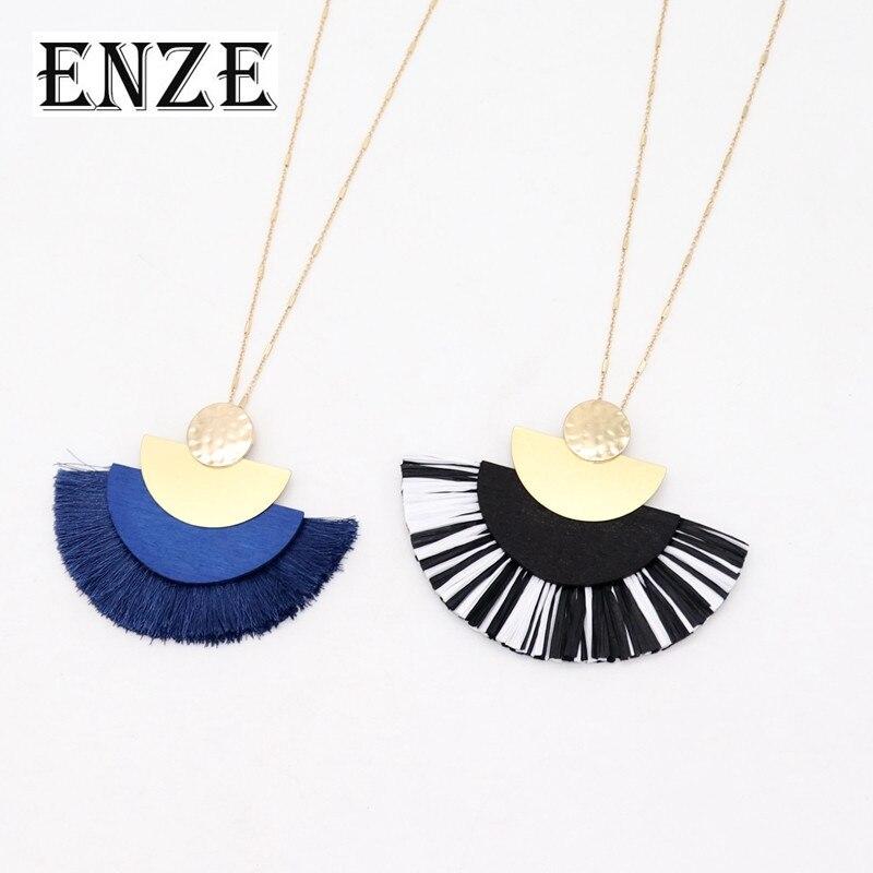 ENZE Negro Azul semicircular madera aleación de zinc Alambre de heno cuerda con flecos en forma de ventilador combinación collar de cuentas largas para las mujeres
