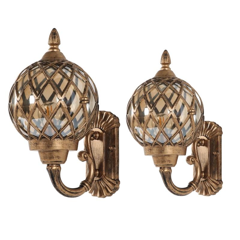 Pared de bola de cristal impermeable párr exteriores retro de pasillo de pintura LED de bombilla E27 de hierro y bronce europea