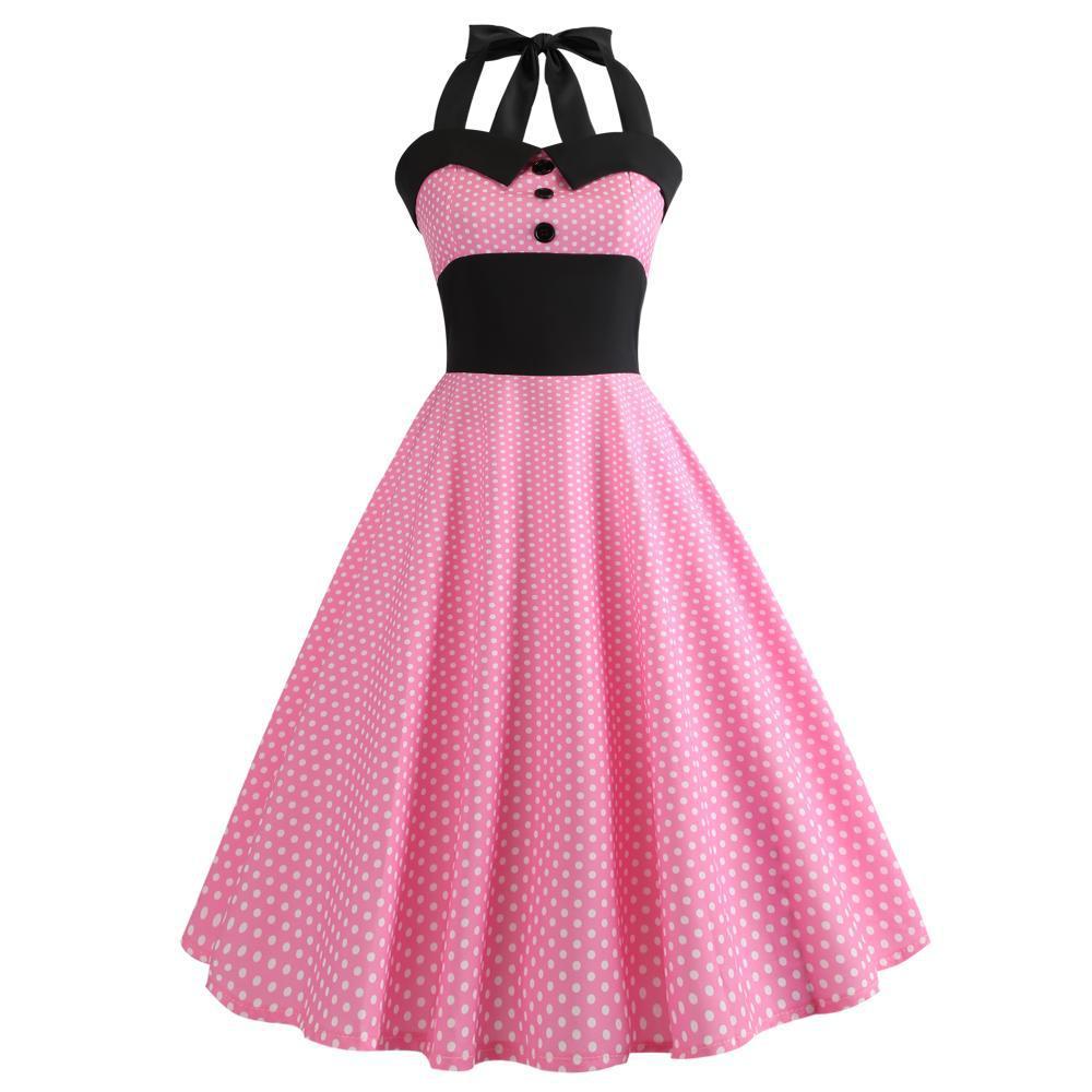 Foto de EBay AliExpress Venta caliente Retro Hepburn viento 50 conjunto ajustado de cuelo Halter ajuste grande vestido de falda de