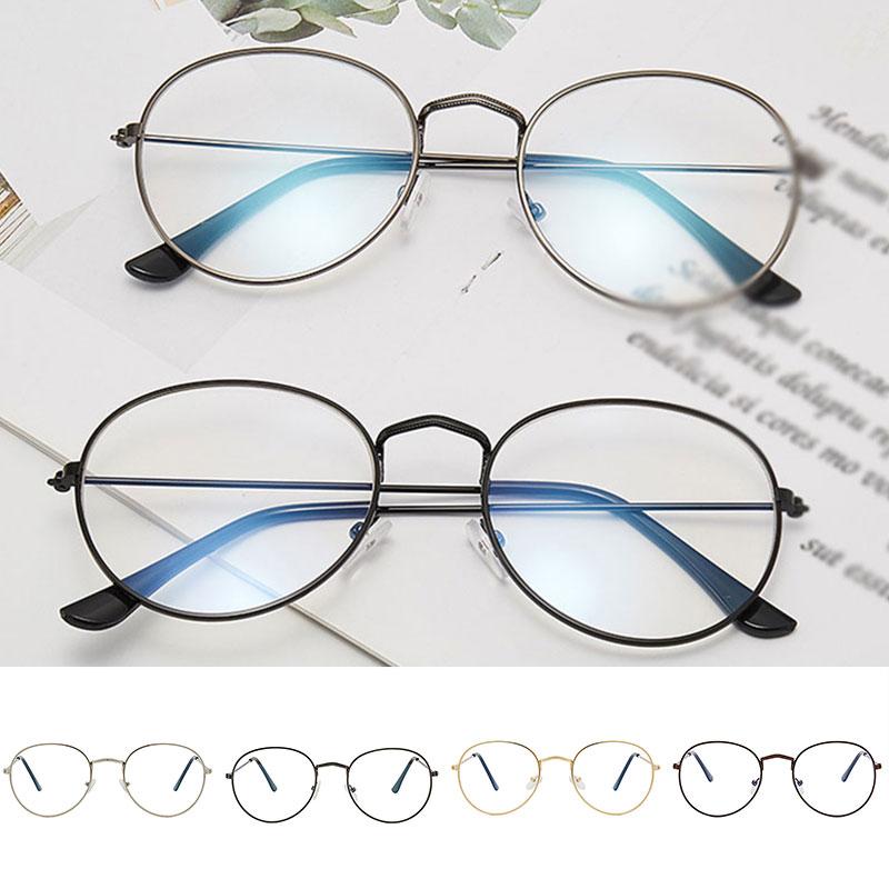 Fashion Gold Round Metal Frame Vintage Women Girls Glasses Clear Lens Optical Unisex Eyeglass Fake