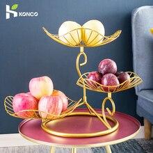 Konco Kreative Obstkorb Eisen Höhlte Ablauf Korb Snack-fach Nordic Stil Obst Platte Nordic Obstkorb Obst Lagerung