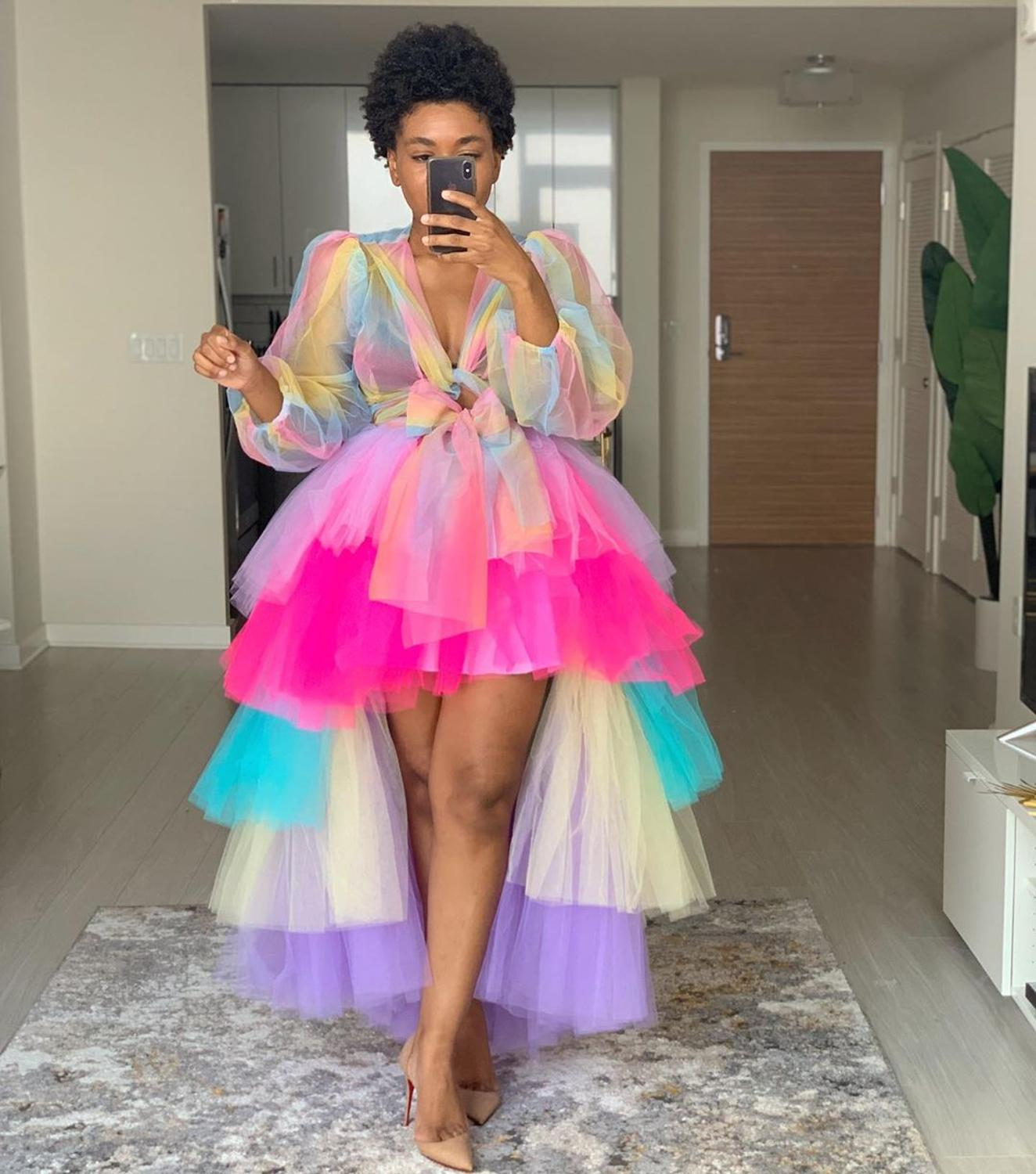 Cute Rainbow Tullw Tops Custom Made Long Sleeve Sheer Tulle Blouse Women Party Maxi Photo Shoot Top Plus Size