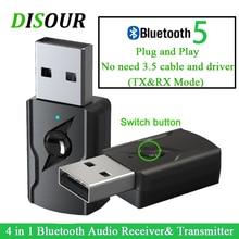 Disour 4 In 1 Usb Dongle 3.5 Mm Aux Jack Stereo Muziek Audio Bluetooth 5.0 Tranmsitter Ontvanger Voor Tv Pc auto Kit Draadloze Adapter
