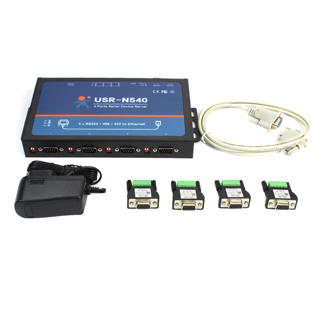 USR-N540 RS232 المسلسل Rj45 محولات 4 منافذ المسلسل RS232 RS485 RS422 إلى Lan إيثرنت دعم Modbus TCP مع CE FCC بنفايات