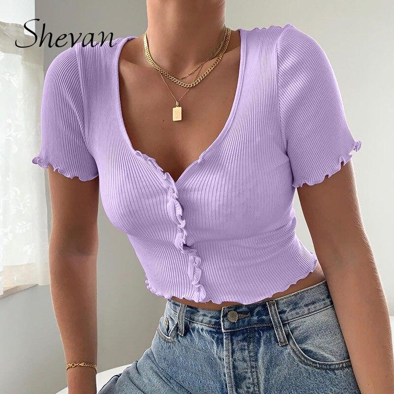 Shevan street verão topos sexy mulher azul com botões regata manga curta estilo coreano costela de malha colheita topo feminino
