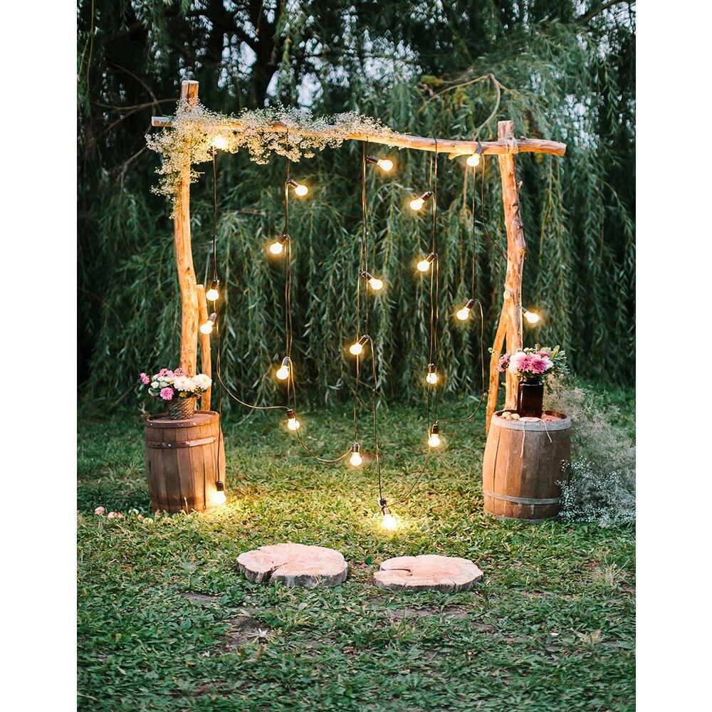 Estilo rústico compromiso ceremonia fotografía telón de fondo boda arco decoración luces centelleantes ramo de flores Fondo Studio Props