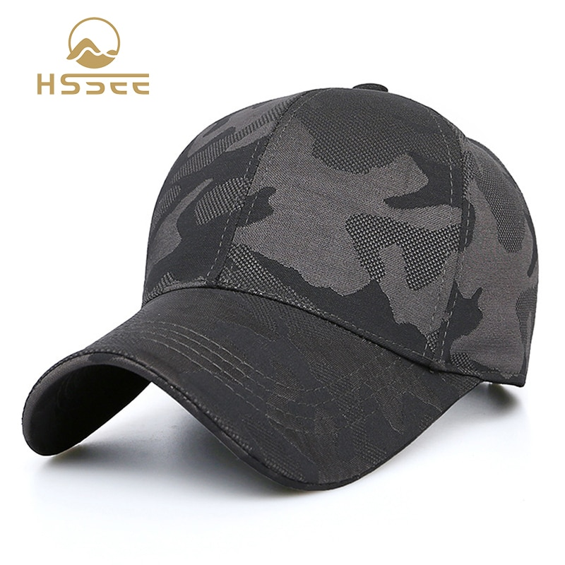 HSSEE Fashion Camouflage Cotton Men Fishing Hat Anti-rust Metal Adjustable Buckle Breathable Comfortable Outdoor Tactical Cap