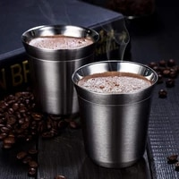 80ml160ml coffee mug double wall stainless steel portable cup travel tumbler coffee tea cups for restaurant office mugs