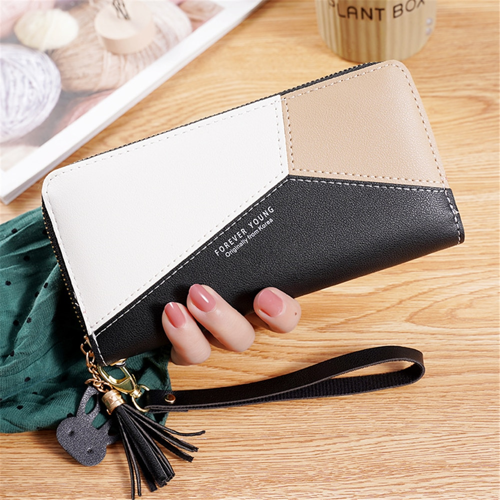 Fashion Wallet Color Contrast Splicing Leather Women Long Zipper  Tassel Design Clutch Female Money Credit Card Holder