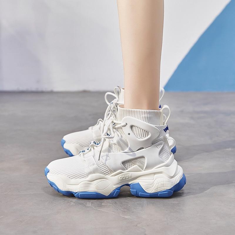 SWYIVY-حذاء رياضي نسائي بنعل سميك ، حذاء رياضي أبيض منسوج ، غير رسمي ، مجموعة خريف 2020 الجديدة