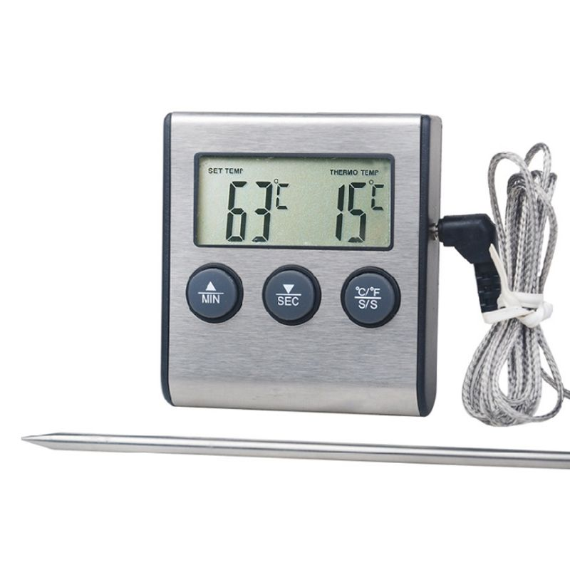 Digital Kitchen Thermometer LCD Display Long Probe Alarm for Grill Oven Food K3KD