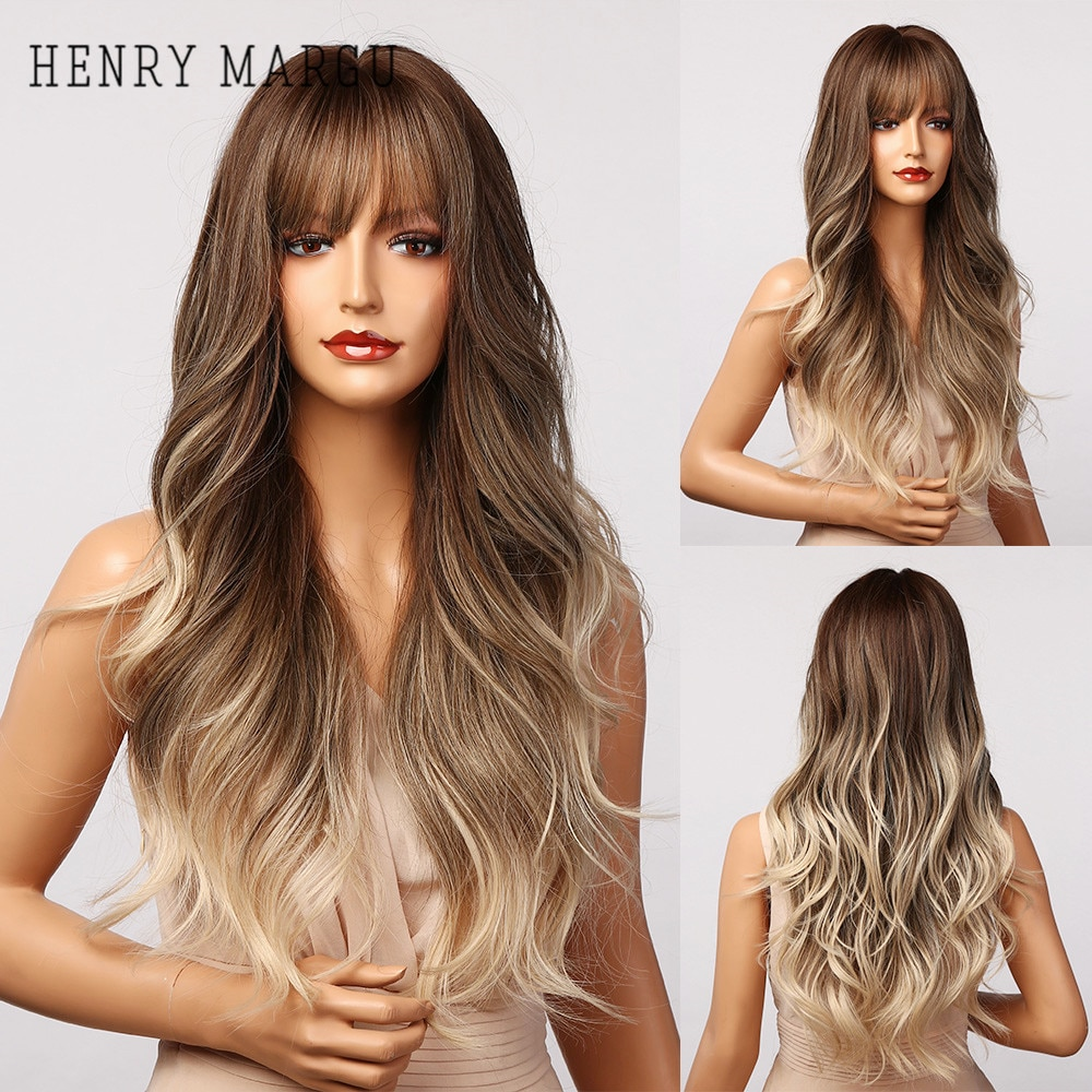 HENRY MARGU Long Brown Blonde Ombre Wavy Synthetic Wigs with Bangs Natural Hair Wigs for Women Heat Resistant Daily Cosplay Wig