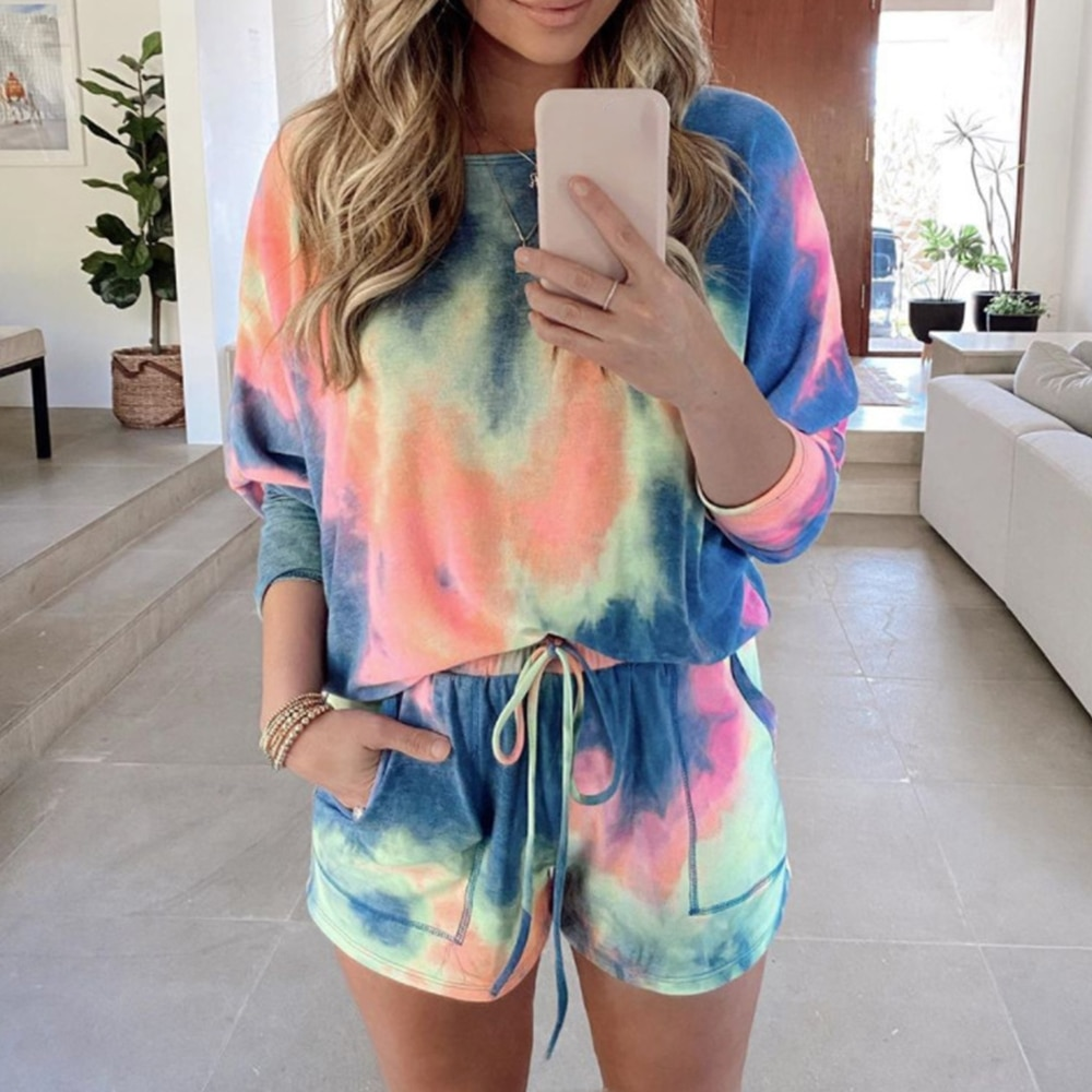 2 Piece Sets Women Tie Dye Print Homewear Casual Long Sleeve T Shirt And Drawstring Shorts Tracksuit