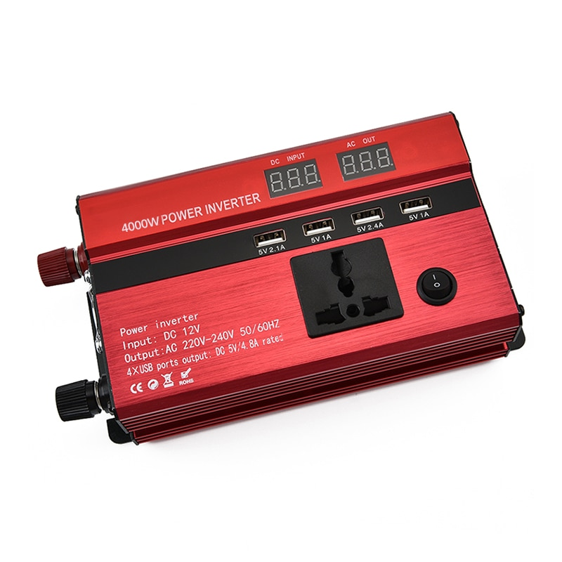4000w 5000w 6000w cargador del inversor de la energía del coche DC 12V/24V a AC 220V adaptador del transformador del voltaje del convertidor de onda sinusoidal