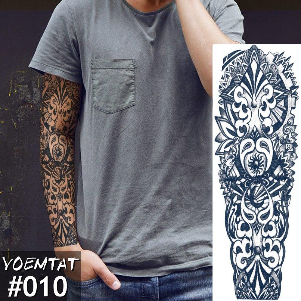 New 1 Piece Temporary Tattoo Sticker Totem Design Full Flower Tattoo With Arm Body Art Big Large Fake Tattoo Sticker