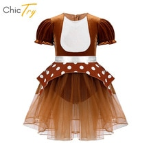 Infant Baby Girls Christmas Elk Costume Short Sleeves Mesh Tutu Romper Dress With Press Button At Cr