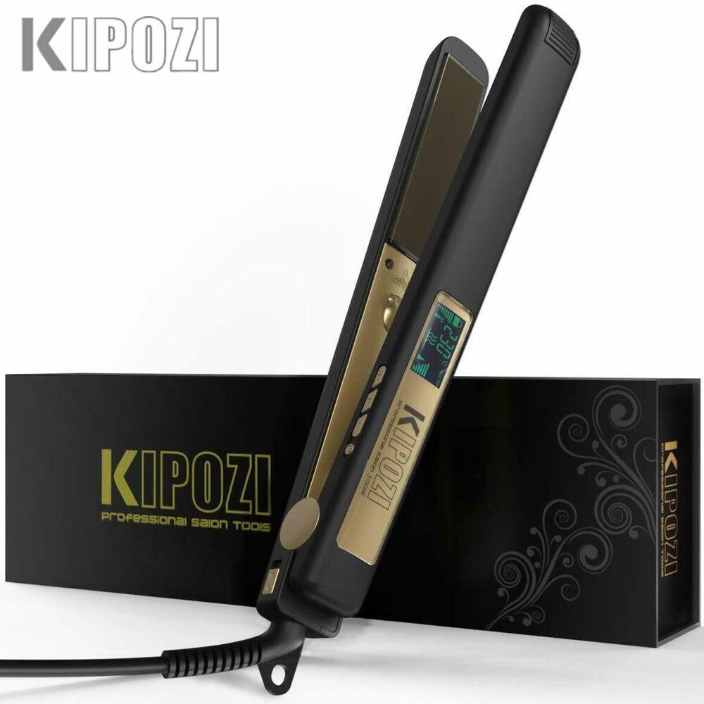 KIPOZI Hair Straightener Professional Hair Tool LCD Display 2 In 1 Hair Iron Dual Voltage Adjustbale