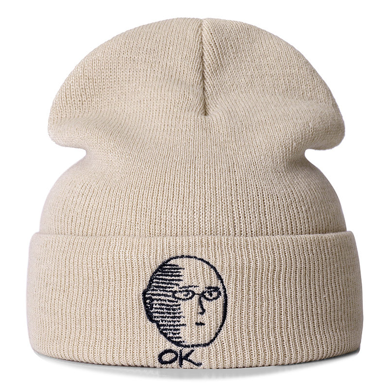 Gorros informales de algodón de Anime de un punzón para hombres mujeres sombrero de invierno de punto de Color sólido hip-hop sombrero Unisex tapa
