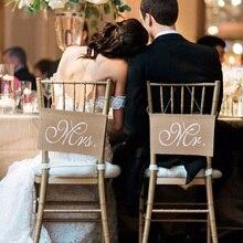 Banderole signe chaise de mariage romantique   1 paire, accessoires pour stand Photo Mr Mrs marié, fournitures de décoration pour fête de mariage