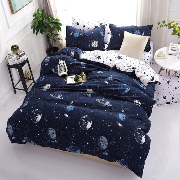 Solstice-طقم أغطية سرير باللون السماوي للبالغين ، طقم أغطية سرير للجنسين ، مع ملاءة مسطحة ، رمادي ، لسرير مزدوج أو كوين