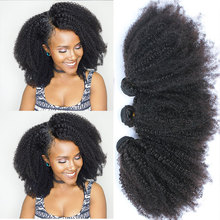 Mongolian Afro Kinky Curly Bundles Human Hair Bundles With Closure 100% Human Hair Weave Extensions