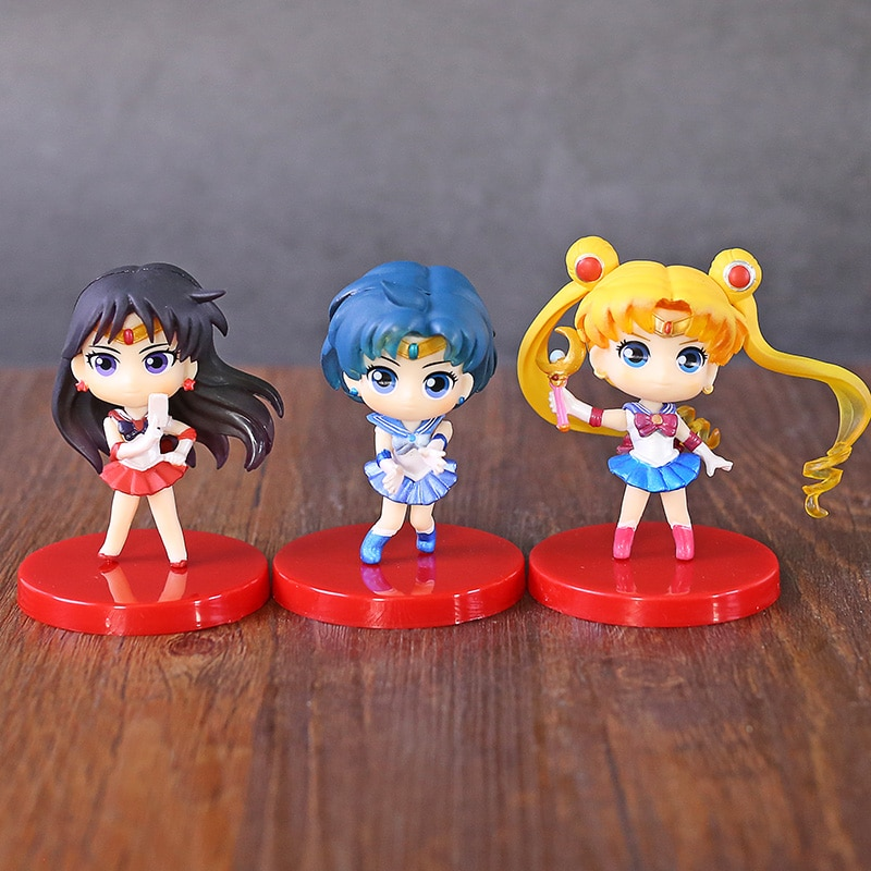 Q Posket marinero Luna Tsukino Usagi marinero mercurio Marte de PVC figuras juguetes Qposket muñecas 3 unids/set