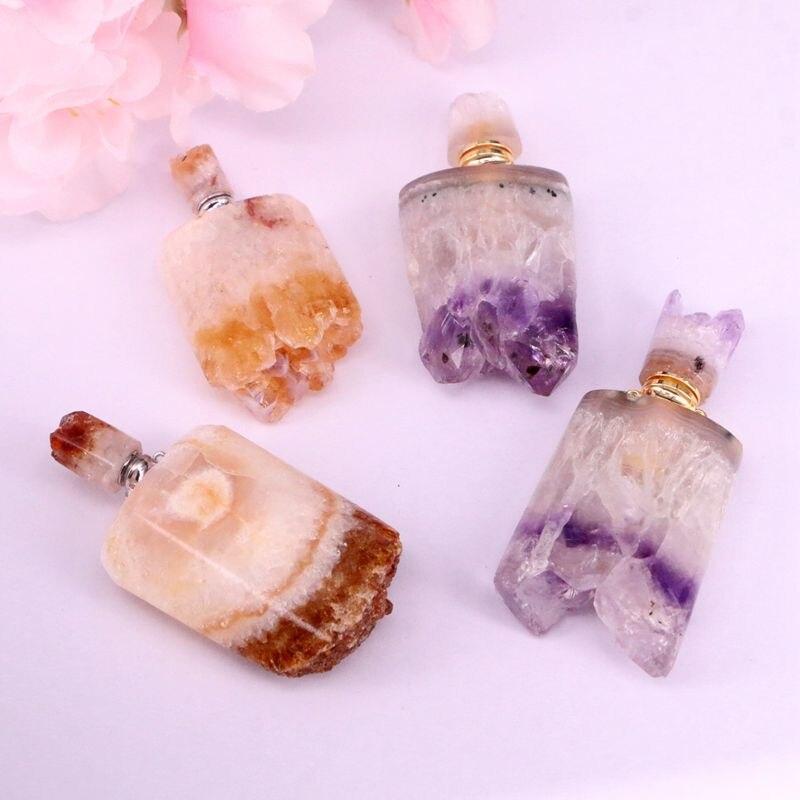 Garrafa de perfume da forma de 2 pces, ametistas naturais/pingente de óleo essencial da gema amarela, com laços dobro para fazer joias