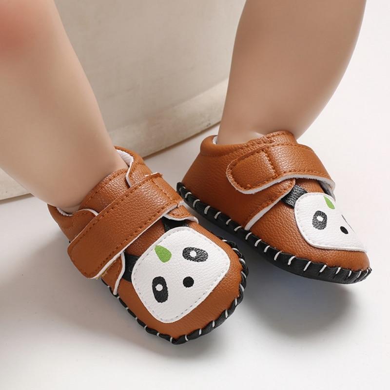 Baby First Walkers cuero PU patrón de Panda de dibujos animados niños zapatos suaves zapatos deportivos de bebé zapatillas de Niño 0-18M