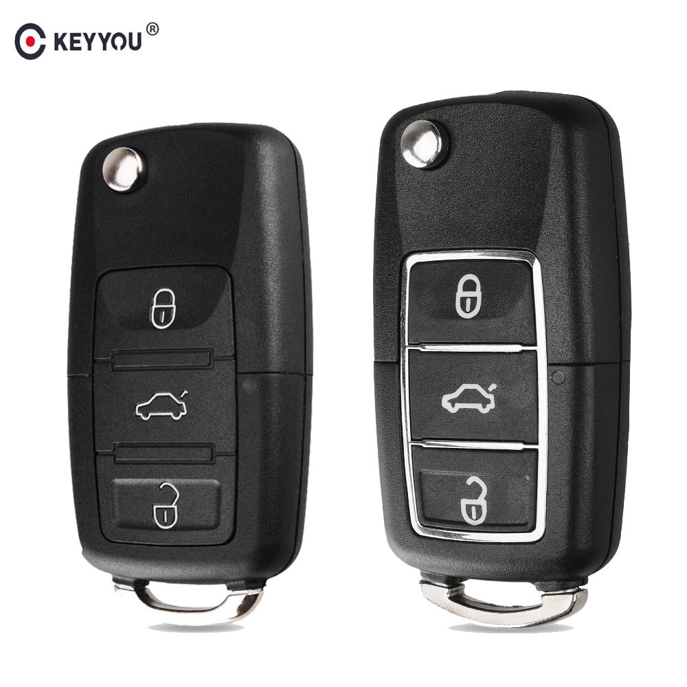 KEYYOU Flip Folding Car Key Shell For Volkswagen Vw Jetta Golf Passat B5 B6 Beetle Polo Bora Caddy MK5 Skoda 3Button Remote Case