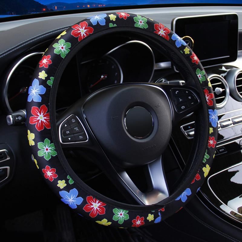 Protector para volante de coche de 37-38cm, estampado de flores antideslizante, fundas de volante de coche, productos para automóviles, accesorios para coche para niñas