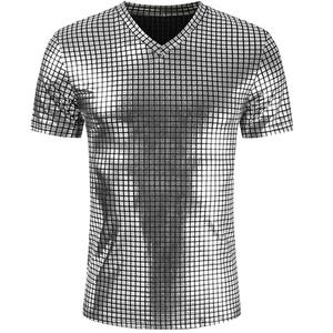 Silver Coated Metallic T Shirt Men Shinny Casual V-Neck Mens T-Shirt Night Club Shirts Hip Hop Tee Top Plaid Harajuku Streetwear