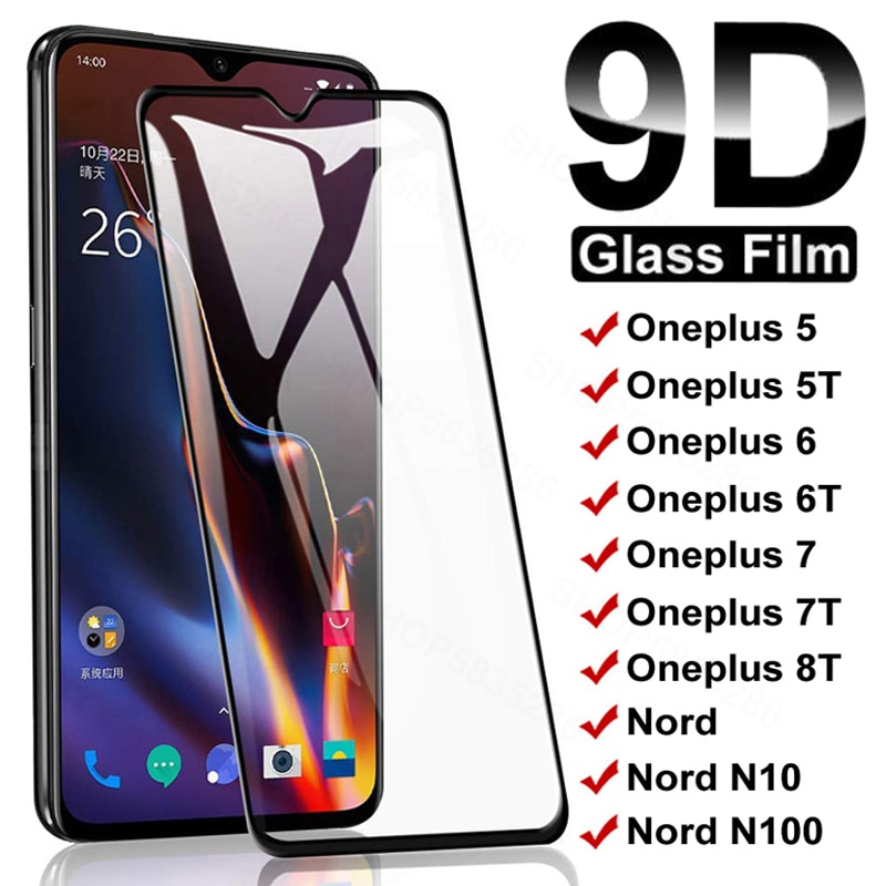 9D Full Protective Glass For Oneplus 8T 7 7T 6 6T 5 5T Tempered Screen Protector Oneplus Nord N10 5G