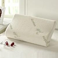 top quality 2pcs home soft contour orthopedic bamboo fiber sleeping pillow memory foam pillows contour memory foam luxury pillow