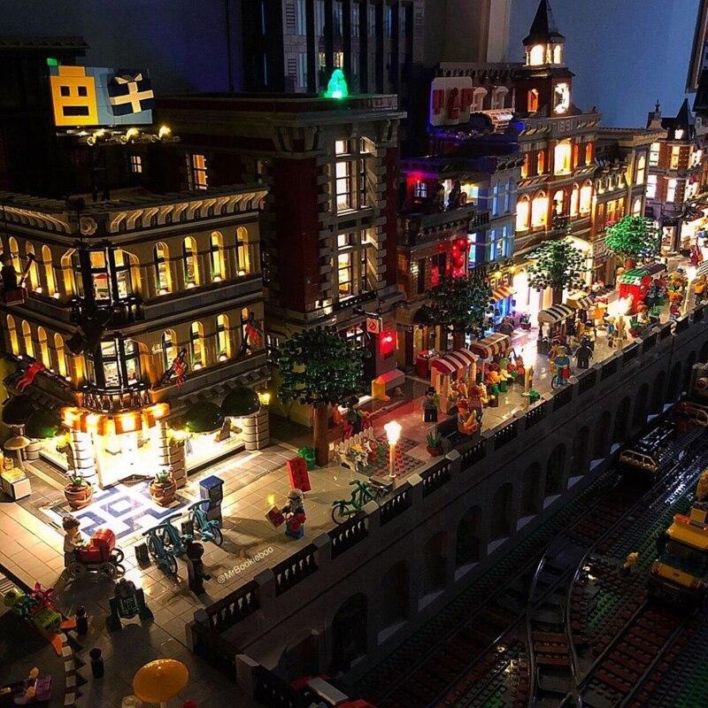 Creator Expert City Street View Streetview con luces Led establece el modelo de Kits de construcción bloques de bloques juguetes educativos para niños