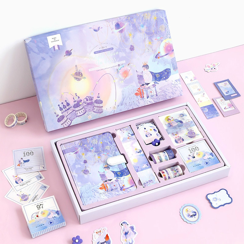Notebook with Stickers Tape Hand Book Set Gift Box Pink Purple Girl Diary Student School Stationery Christmas Present