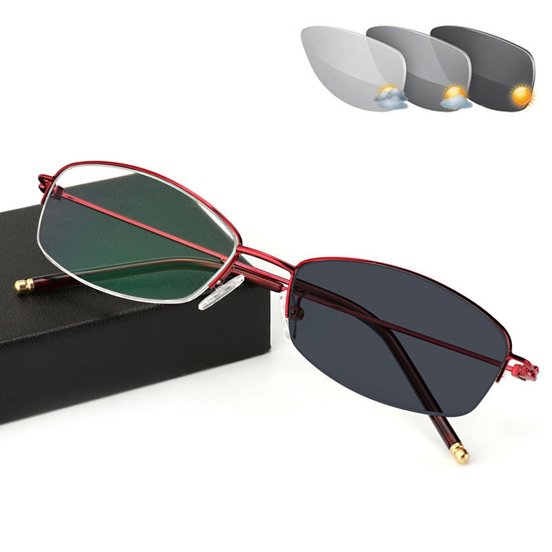 New Reading Glasses Photochromic Metal Half-frame Eyeglasses Women Prescription Spectacles Presbyopic Eyewear UV Protection