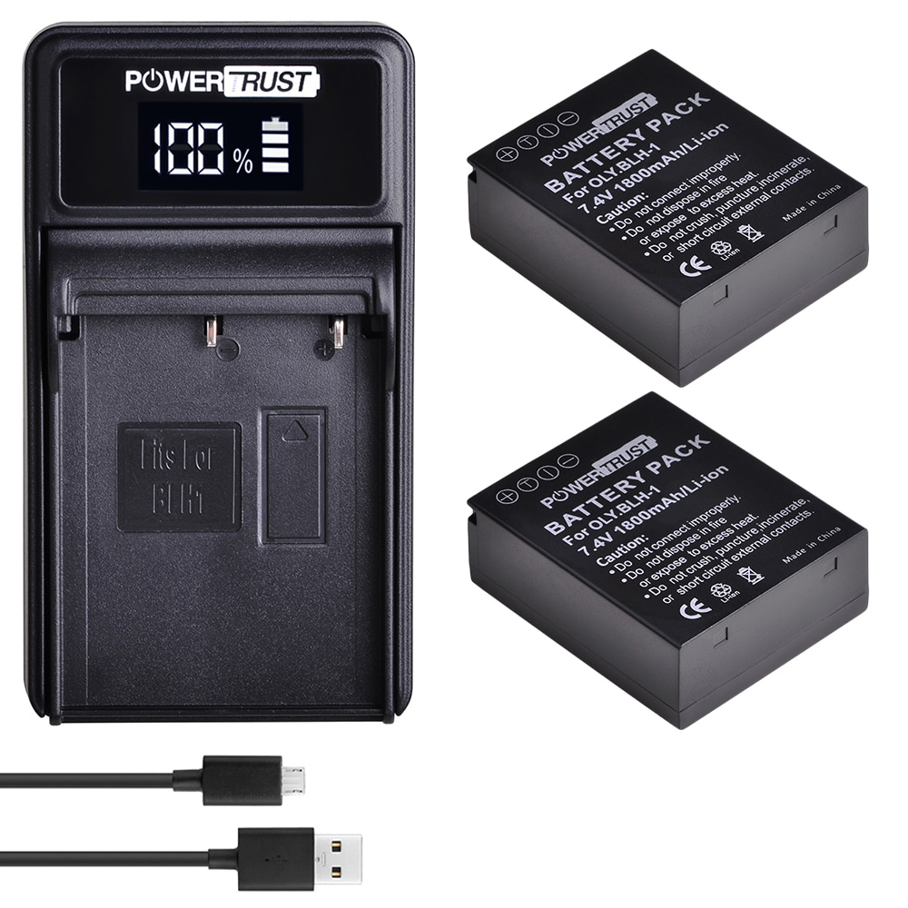 BLH-1 BLH1 BLH 1 Camera Battery akku + New LED USB Charger for Olympus E-M1 Mark II EM1-2 EM1 Mark Camera