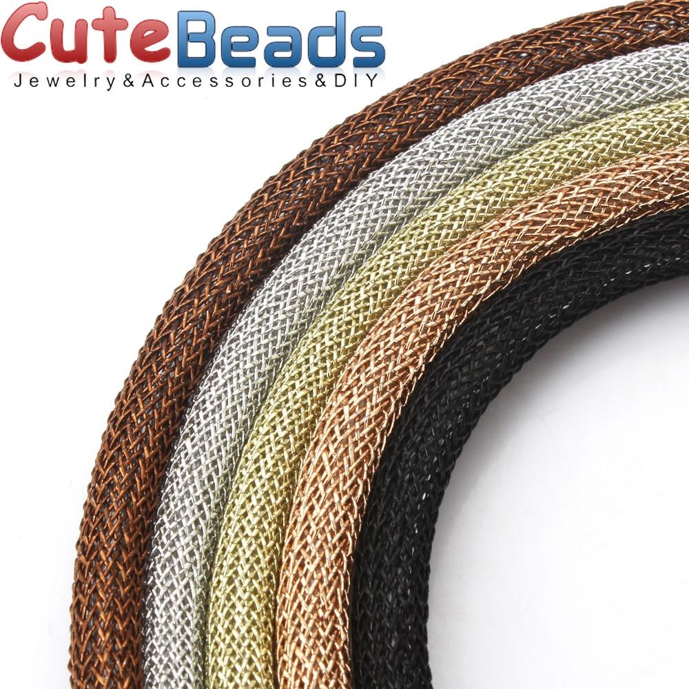 1M / batch 6.0mm multi-color mesh metal color line plastic hollow tube threading fixed shape DIY bracelet jewelry making