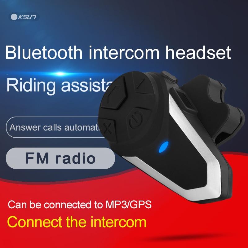 KSUN-سماعة رأس للدراجات النارية مزودة بتقنية البلوتوث وجهاز اتصال داخلي مدمج للركوب اللاسلكي والتنقل الذاتي للهاتف الخلوي