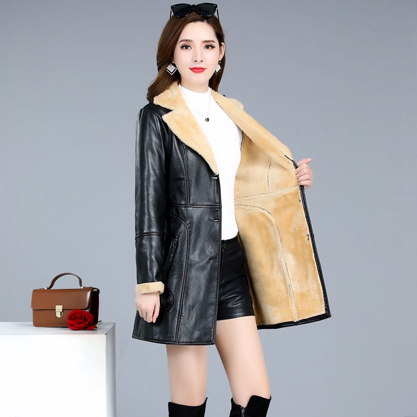 DUOFAN Women Fashion Thick Warm Winter Fur Faux Leather Jacket Mid-length Coat Vintage Long Sleeve Female Outerwear Chic Tops enlarge