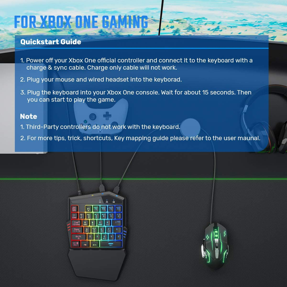 iFYOO Gaming Keyboard and Mouse Combo (Converter Build in) for PS4, PS3, Xbox One, Nintendo Switch, Xbox 360 Call of Duty/PUBG enlarge