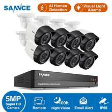 SANNCE 8CH 5MP-N Super HD Video Security System H.264 + DVR Mit 4X 8X 5MP Kugel Im Freien Wasserdichte CCTV Kamera kit AI Erkennung