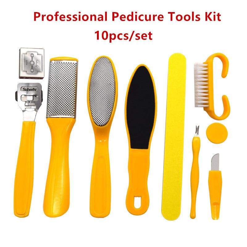 10 unids/set 10 en 1 limpiador de pies Kit de herramientas de pedicura profesional Rasp Lima de pie Callu removedor de pies exfoliante cuidado de los pies