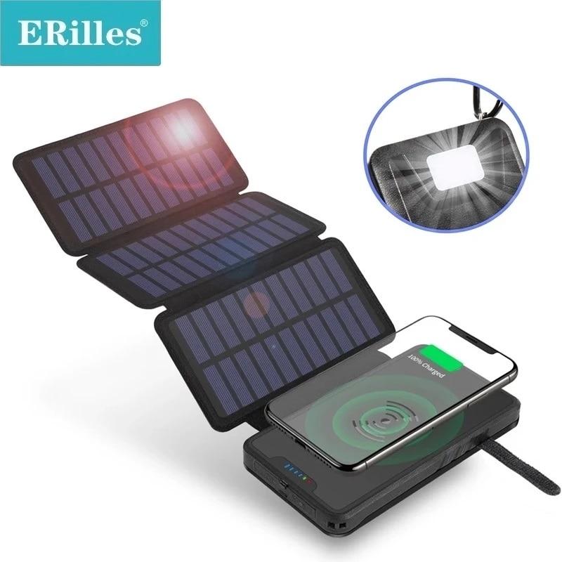 20000mAh تشى شاحن لاسلكي بنك الطاقة الشمسية المزدوجة USB الألواح الشمسية شاحن بطارية خارجية Powerbank آيفون شاومي سامسونج