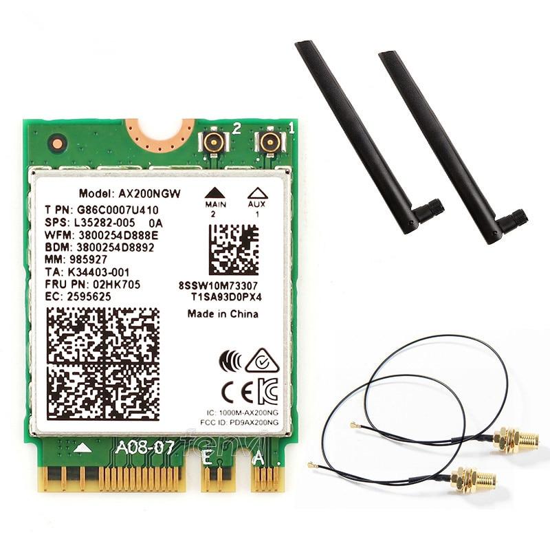 Doble banda AX200NGW inalámbrica 802.11ac/ax red WiFi 6 para AX200 Wlan NGFF tarjeta Wifi 5G hasta 2,4 Gbps Bluetooth 5,0 + antenas